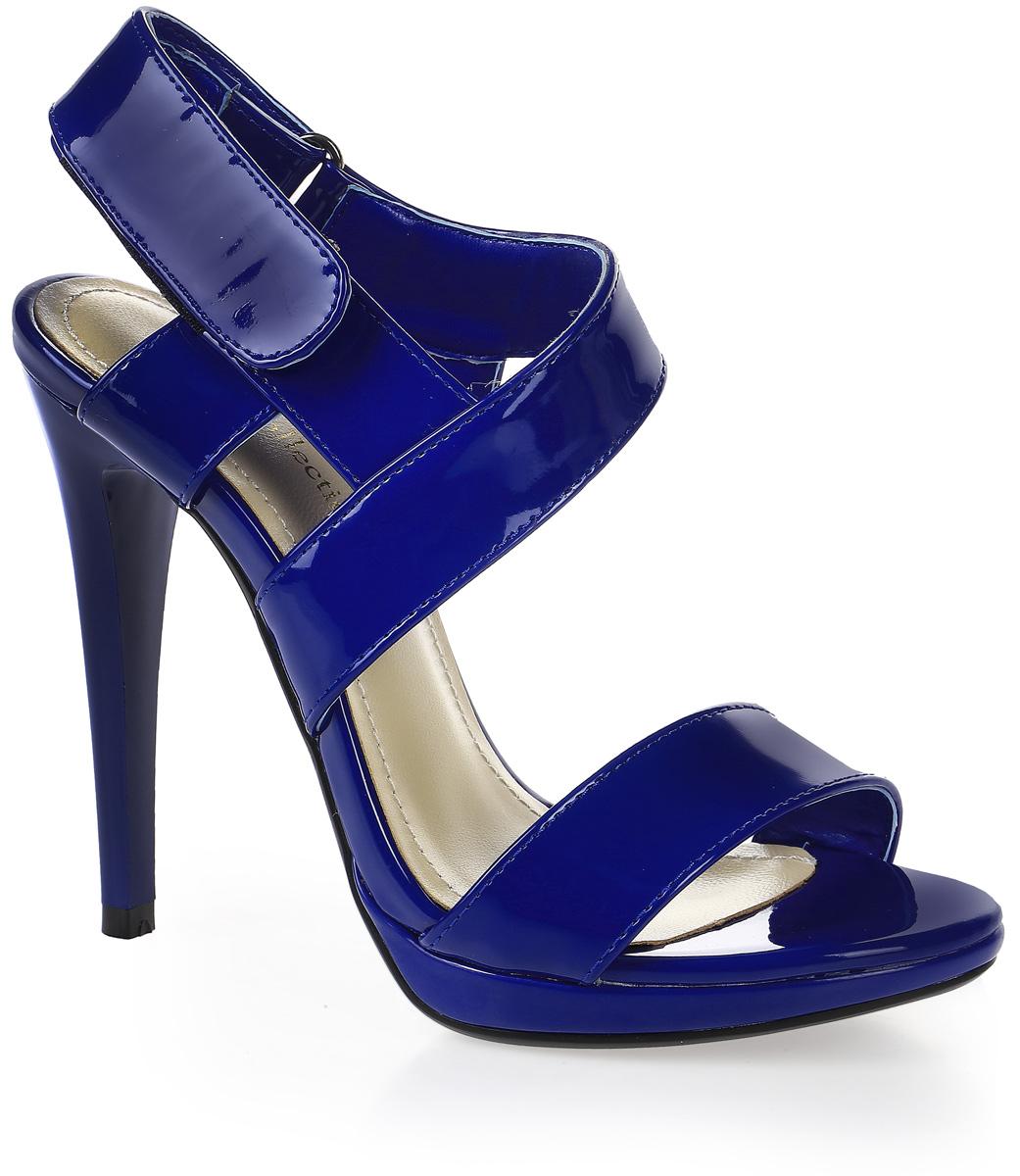 Босоножки женские LK Collection, цвет: синий. W315-W611-2 PU. Размер 40W315-W611-2 PUСтильные босоножки на высокой шпильке выполнены из искусственной кожи. Стелька выполнена из натуральной кожи. Босоножки фиксируются на ноге при помощи застежки-липучки.