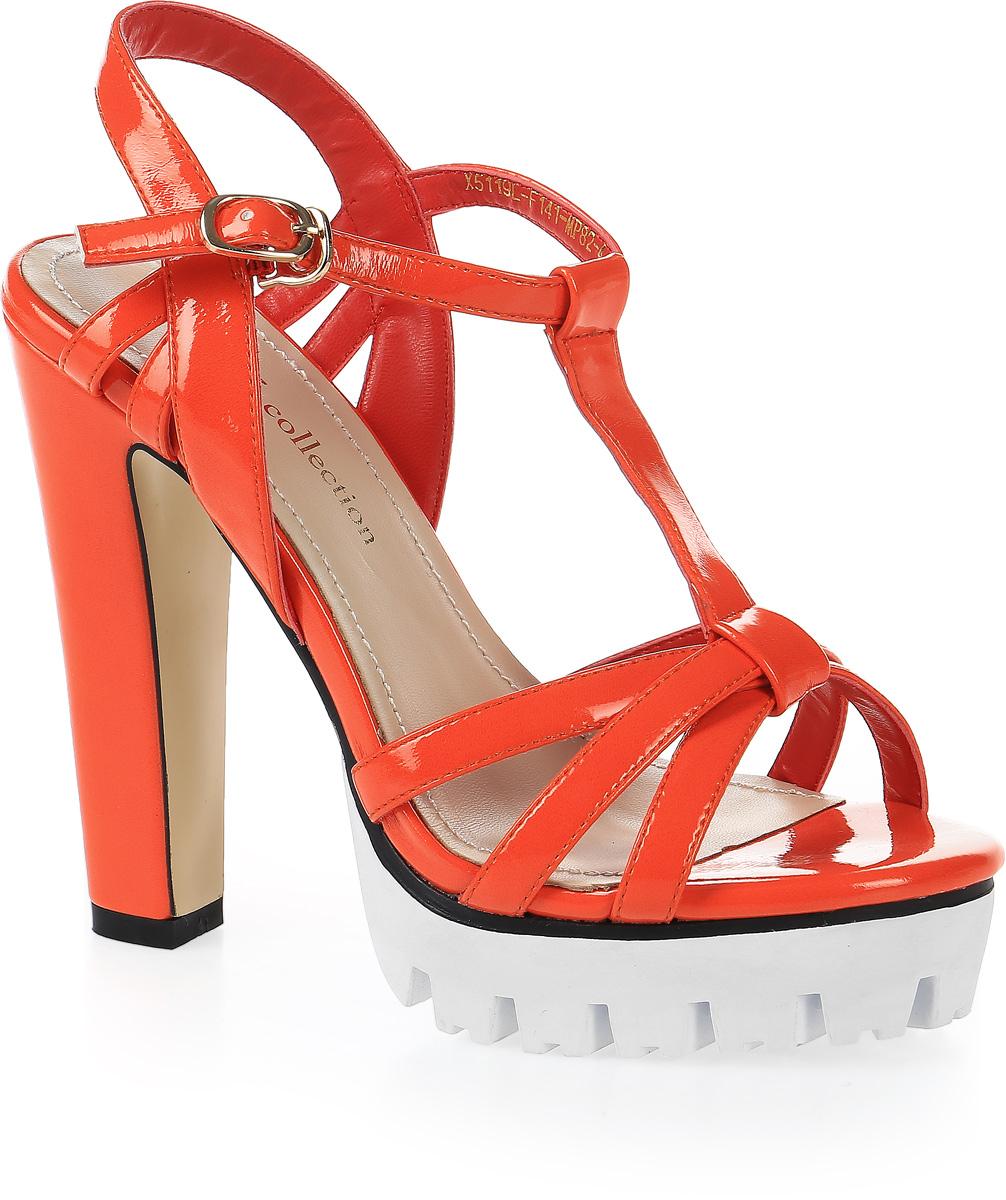 Босоножки женские LK Collection, цвет: оранжевый. X5119L-F141-MP82-4 PU. Размер 36X5119L-F141-MP82-4 PUСтильные босоножки на высоком каблуке и массивной подошве выполнены из искусственной кожи. Стелька выполнена из натуральной кожи. Босоножки фиксируются на ноге при помощи застежки-пряжки.