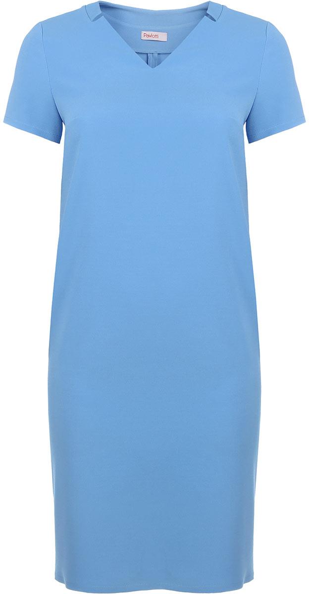 Платье Pavlotti, цвет: голубой. П19-192. Размер 52П19-192Лаконичное платье Pavlotti выполнено из полиэстера с добавлением вискозы и лайкры. Модель длиной до колен имеет V-образный вырез горловины и короткие рукава. В области груди предусмотрены вытачки для оптимальной посадки по фигуре. Сзади имеется разрез.