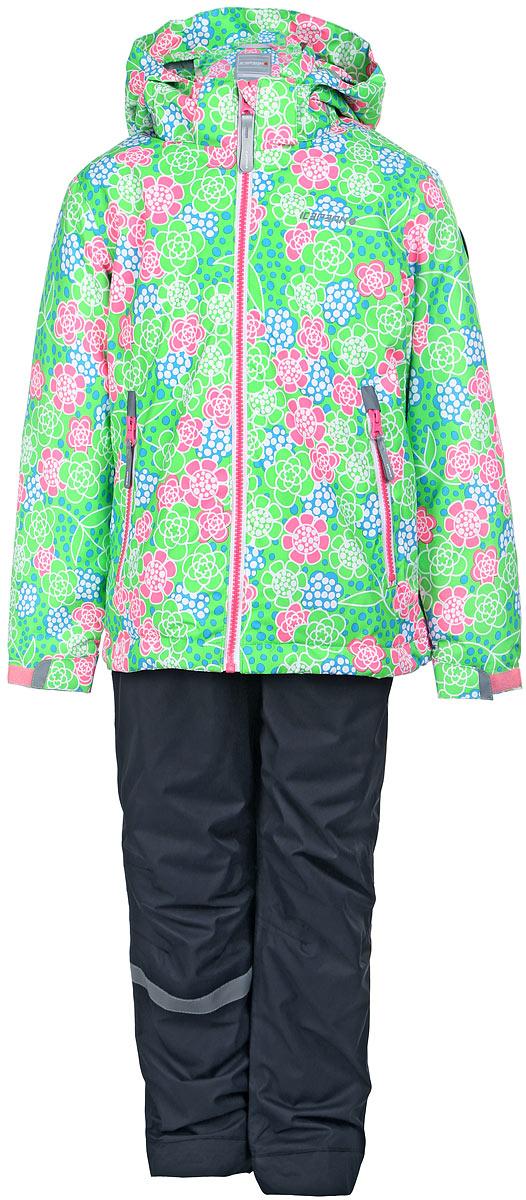 Комплект для девочки Icepeak: куртка, полукомбинезон, цвет: зеленый, серый. 752000660IV_882. Размер 116752000660IV_882Комплект верхней детской одежды Icepeak состоит из куртки и полукомбинезона. Куртка с капюшоном застегивается на пластиковую молнию. На рукавах предусмотрены манжеты. Спереди расположены два врезных кармана на молниях. Оформлено изделие оригинальным принтом. Брюки спереди застегиваются на пластиковую молнию и кнопку. Модель дополнена эластичными наплечными лямками, регулируемыми по длине. На талии предусмотрена широкая резинка. На комплекте предусмотрены светоотражающие элементы.