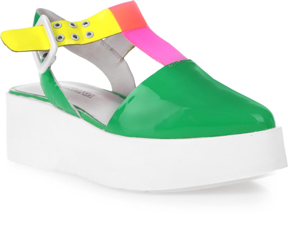 Босоножки женские Graciana, цвет: зеленый, желтый. V135-S73-1. Размер 38V135-S73-1Женские босоножки от Graciana с закрытым мыском на платформе выполнены из натуральной кожи. Модель фиксируется на ноге при помощи ремешка на пряжке. Подкладка, изготовленная из натуральной кожи, обладает хорошей влаговпитываемостью и естественной воздухопроницаемостью. Стелька из натуральной кожи гарантирует комфорт и удобство стопам. Подошва из ТЭП-материала обеспечивает хорошую амортизацию и сцепление с любой поверхностью.