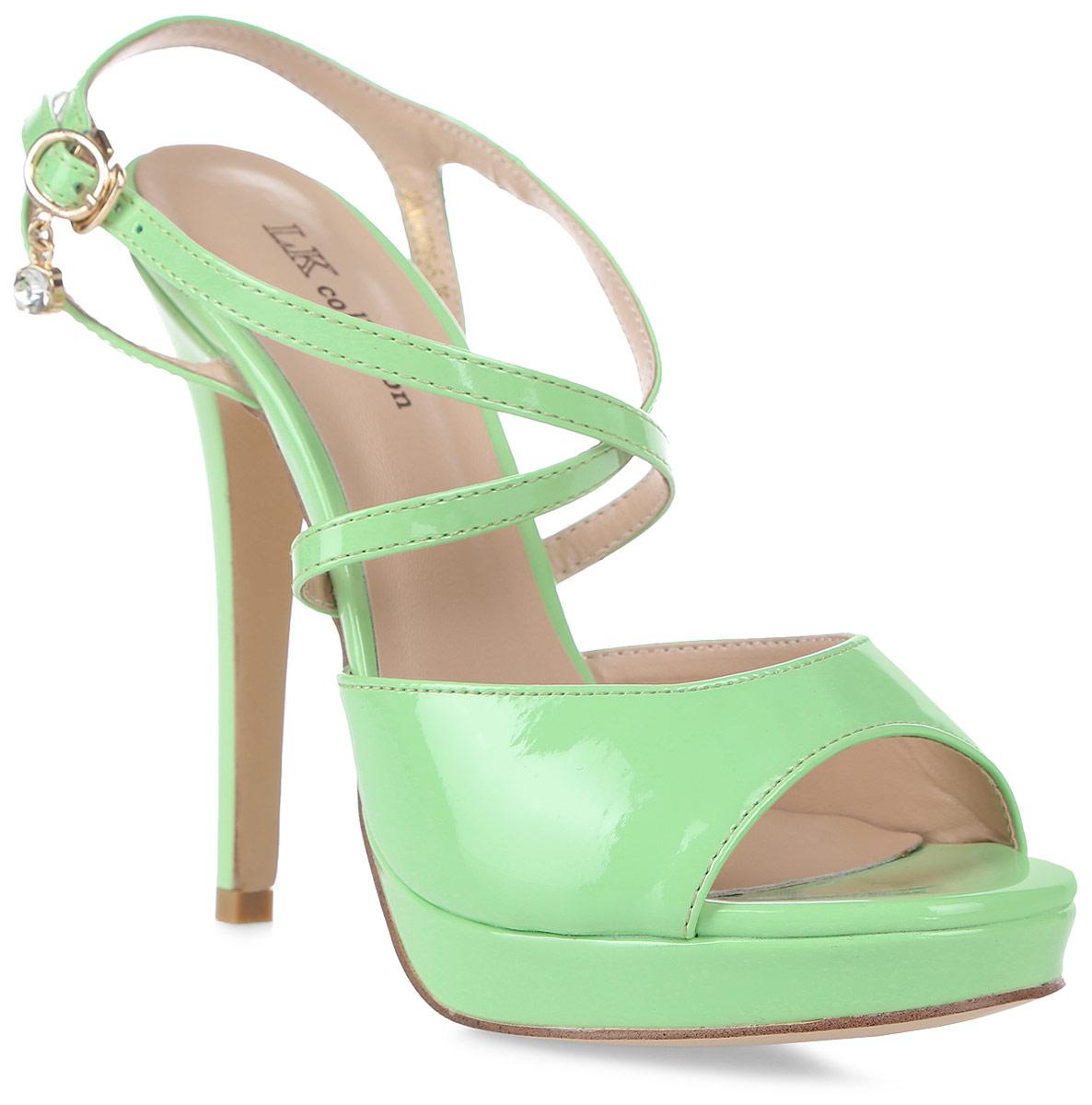 Босоножки женские LK Collection, цвет: зеленый. H40-X596-5 PU. Размер 36H40-X596-5 PUСтильные босоножки на высокой шпильке выполнены из искусственной кожи. Модель дополнена стелькой из натуральной кожи.