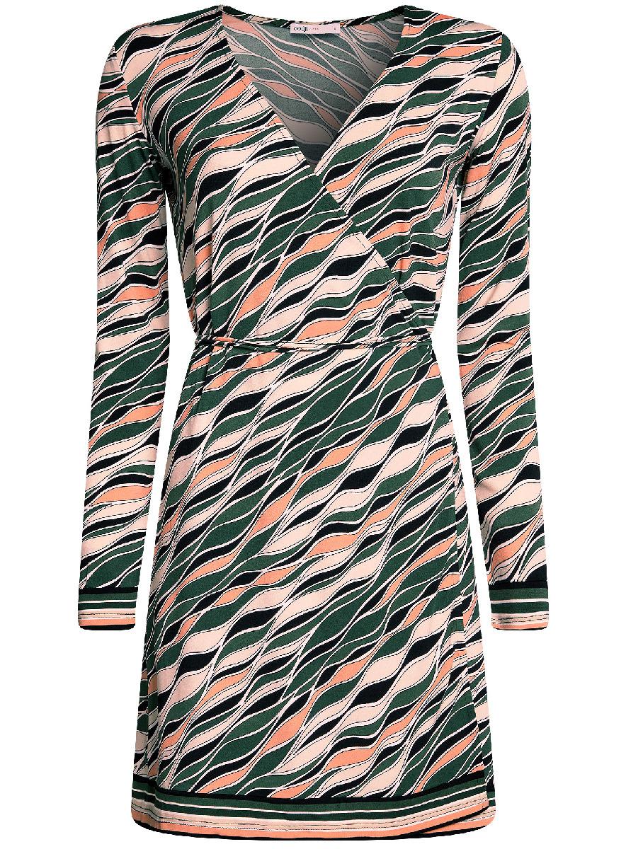 Платье oodji Ultra, цвет: темно-зеленый, оранжевый. 14000167/46384/6955O. Размер S (44-170)14000167/46384/6955OПлатье с запахом oodji Ultra А, выгодно подчеркивающее достоинства фигуры,выполнено из качественного трикотажа. Модель мини-длины с короткимирукавами завязывается тонким пояском. Запах дополнительно фиксируется скрытыми пуговицами.