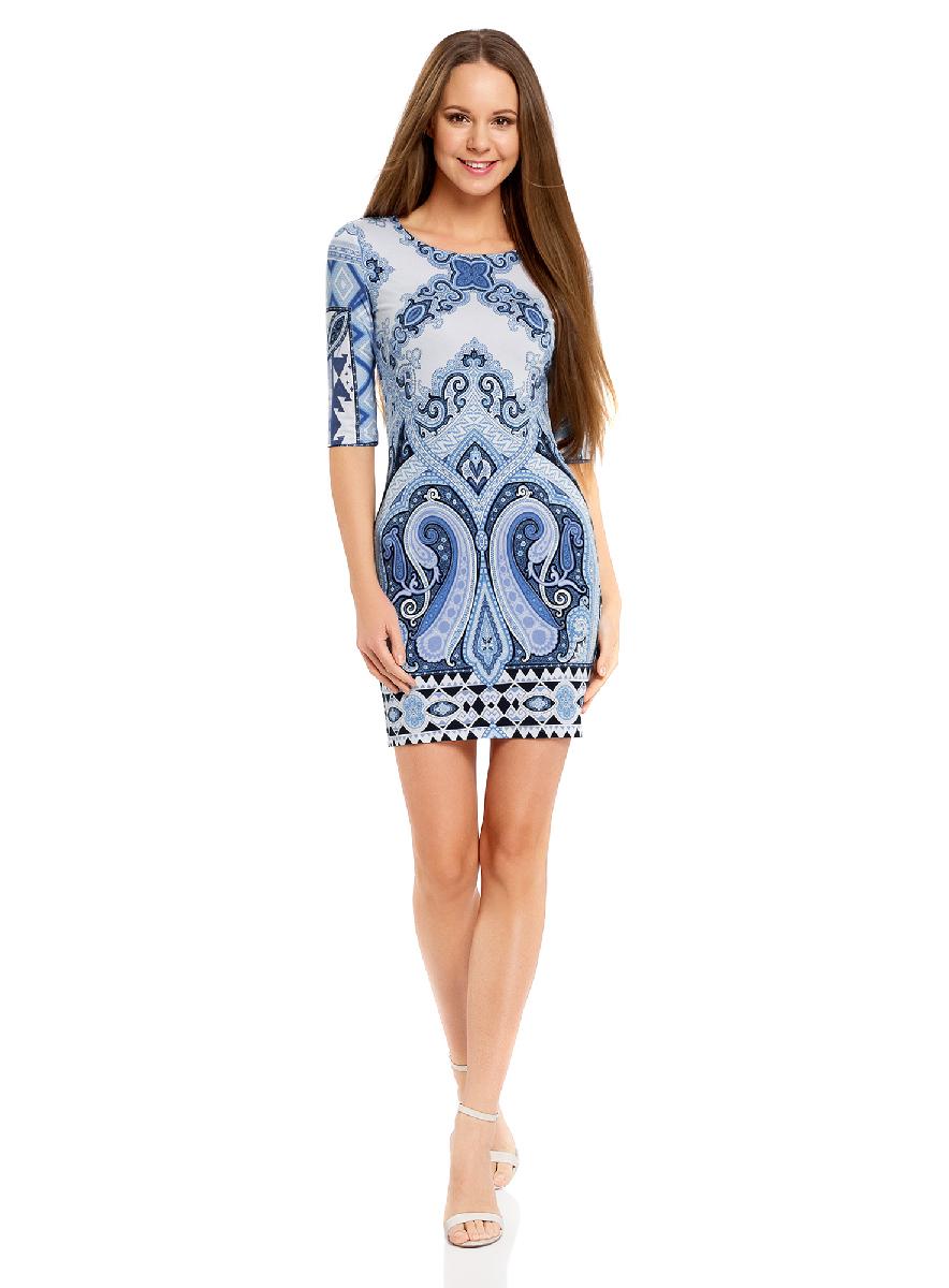Платье oodji Ultra, цвет: синий, белый. 14001121-2B/14675/7510E. Размер XS (42-170)14001121-2B/14675/7510EОблегающее платье oodji Ultra выполнено из качественного трикотажа и оформлено оригинальным принтом в этническом стиле. Модель мини-длины с круглым вырезом горловиныи рукавами средней длинывыгодно подчеркивает достоинства фигуры.
