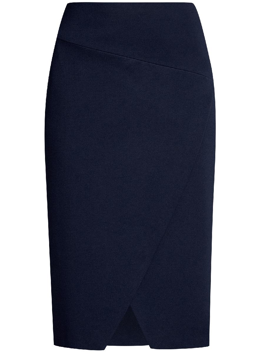 Юбка oodji Ultra, цвет: темно-синий. 14100073/46698/7901N. Размер L (48)14100073/46698/7901NСтильная юбка с диагональным разрезом спереди выполнена из высококачественного трикотажа. зади модель застегивается на потайную застежку-молнию.