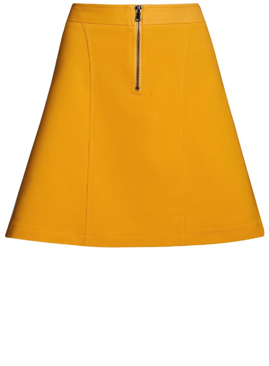 Юбка oodji Ultra, цвет: желтый. 11600438/33574/5200N. Размер 34-170 (40-170)11600438/33574/5200NСтильная юбка-трапеция выполнена из высококачественного материала. Спереди модель дополнена металлической застежкой-молнией.