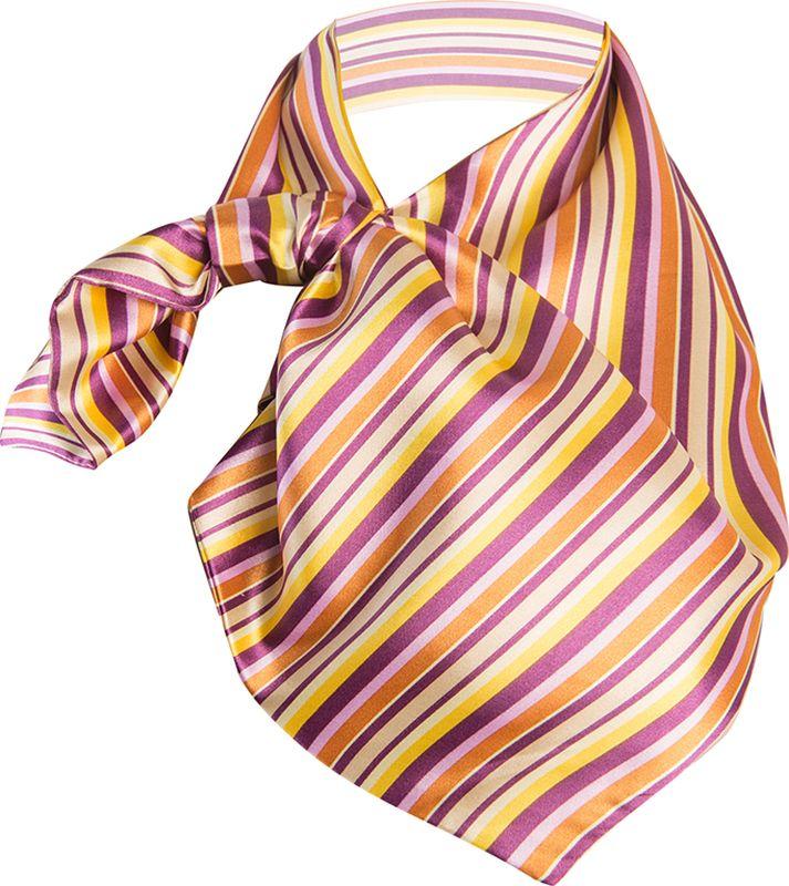 Платок женский Charmante, цвет: лилово-желтый. FRPA313. Размер 65 см х 35 смFRPA313Яркая косынка – идеальный аксессуар для весны. Шарфик-франтон имеет специальный крой и небольшую петельку. Продевая один или несколько краев аксессуара, вы каждый раз будете получать новый вид.