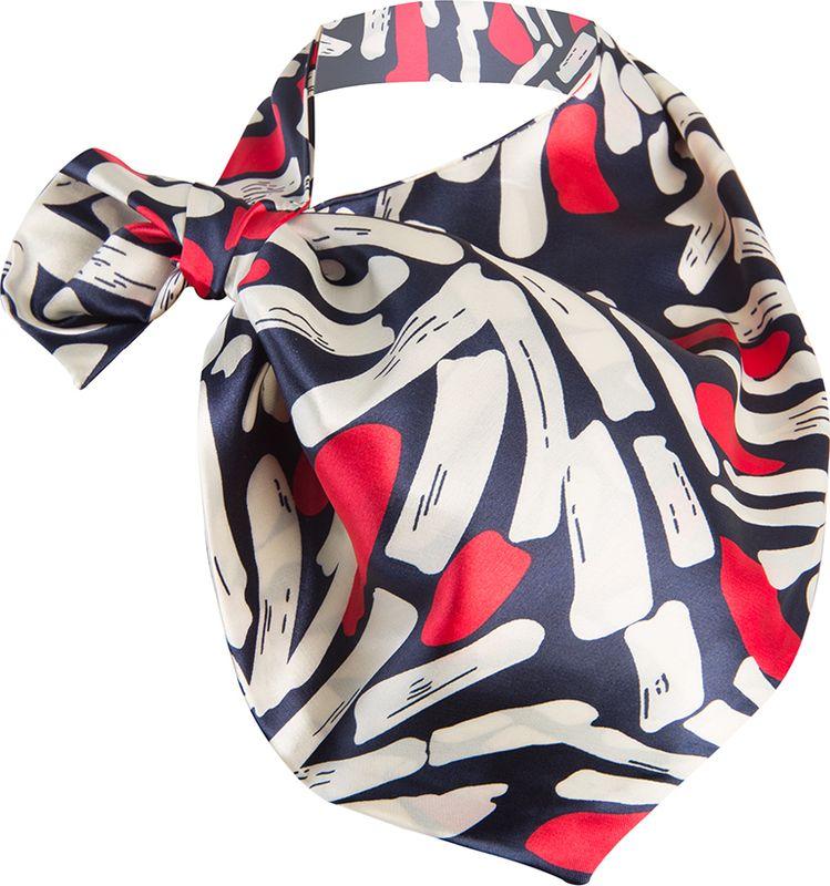 Платок женский Charmante, цвет: синий, красный. FRPA335. Размер 65 см х 35 смFRPA335Элегантный платок имеет специальный крой и небольшую петельку. Продевая один или несколько краев аксессуара, вы каждый раз будете получать новый вид.