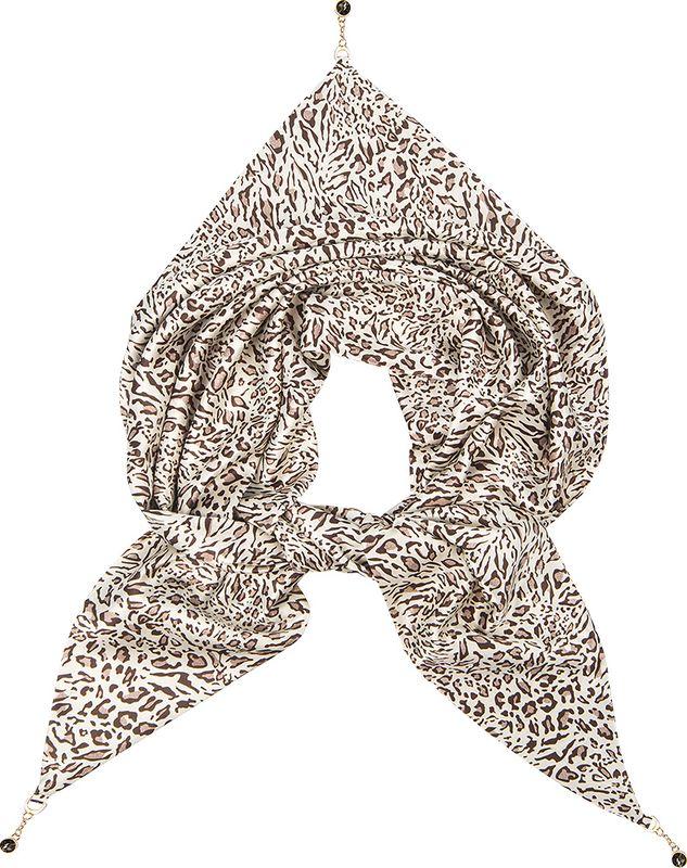 Платок женский Charmante, цвет: леопард. KEPA211. Размер 110 см х 155 смKEPA211Платок треугольной формы с оригинальным принтом. Обе стороны изделия - лицевые. Углы изделия - с цепочками с крупными стразами-утяжелителями, которые выглядят утонченно и интересно, а также помогают держать треугольную форму. Аксессуар красиво смотрится как поверх верхней одежды, так и трикотажного свитера, водолазки, рубашки или офисного костюма.