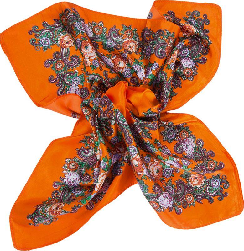 Платок женский Charmante, цвет: оранжевый. NEPA122. Размер 58 см х 58 смNEPA122Стильный шейный платок с цветочным орнаментом. Приятный на ощупь, он отлично защитит шею от прохладного ветра, а его глубокие цвета подчеркнут красоту своей обладательницы.Края изделия обработаны машинным швом.