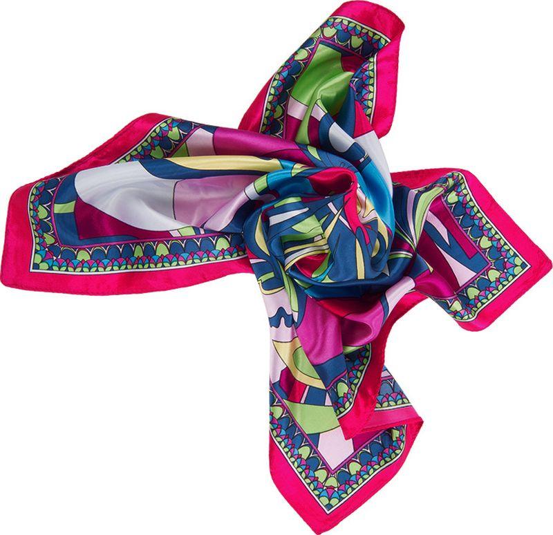 Платок женский Charmante, цвет: розовый. NEPA125. Размер 58 см х 58 смNEPA125Стильный платок с ярким абстрактным принтом. Станет украшением наряда любой модницы. Края платка обработаны машинным швом.