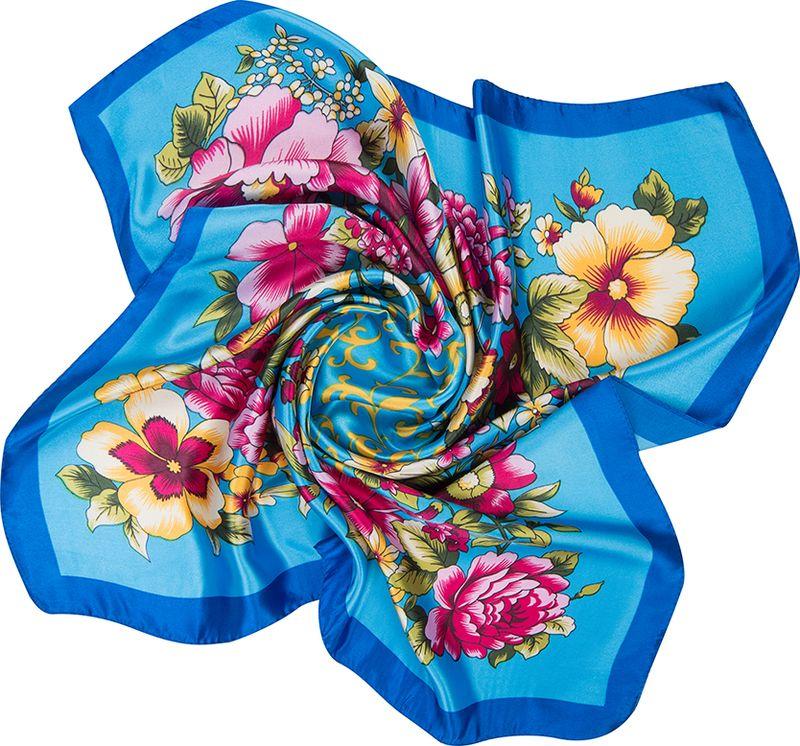 Платок женский Charmante, цвет: голубой. NEPA235. Размер 60 см х 60 смNEPA235Модный шейный платок с ярким цветочным принтом в сочном сочетании цветов. Замечательно украсит любой гардероб в качестве шарфика или косынки, подчеркнет красоту и женственность. Идеальный вариант для делового костюма.