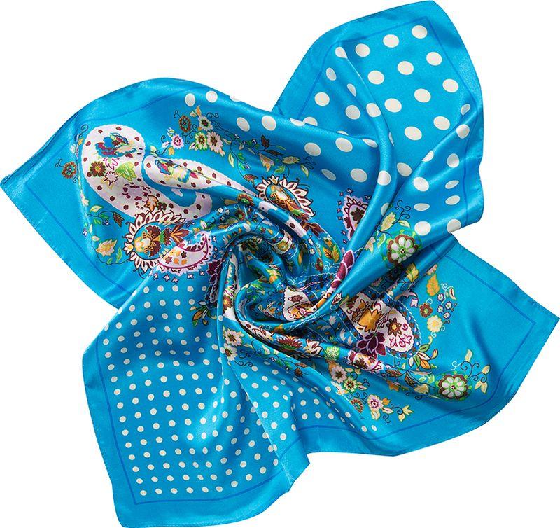 Платок женский Charmante, цвет: голубой. NEPA236. Размер 60 см х 60 смNEPA236Модный шейный платок в оригинальном сочетании принтов Горох и Пейсли. Верный аксессуар для завершения эффектного образа на каждый день! Идеальный вариант для делового костюма.