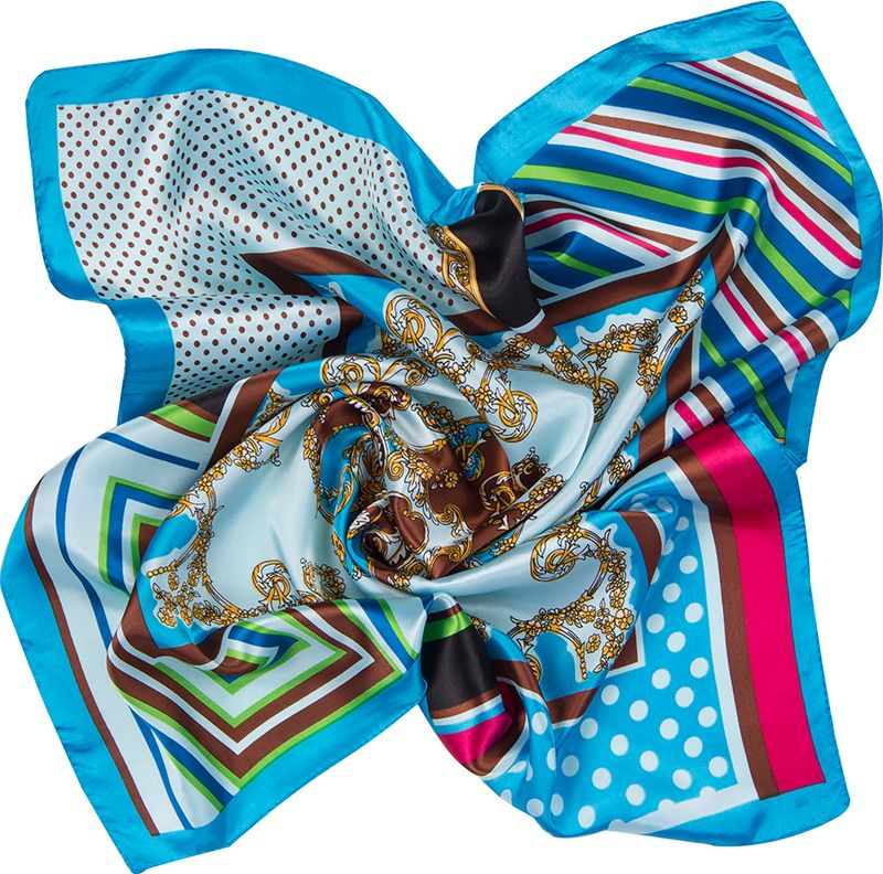Платок женский Charmante, цвет: голубой. NEPA239. Размер 60 см х 60 смNEPA239Классическая и незаменимая деталь гардероба каждой женщины - элегантный и изящный платок, который можно использовать в качестве шарфика или косынки. Модель, выполненная в технике пэчворк, прекрасно завершит образ на каждый день.