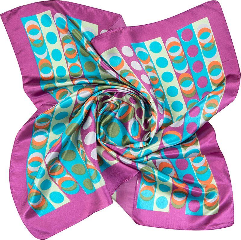 Платок женский Charmante, цвет: бирюзовый. NEPA242. Размер 60 см х 60 смNEPA242Эффектный шейный платок с абстрактным рисунком в стиле ретро. Придаст шик любому гардеробу в качестве шарфика или косынки. Красивый орнамент из разноцветных кругов, прекрасно драпируется, создавая множество узоров.
