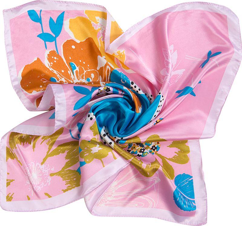 Платок женский Charmante, цвет: розовый. NEPA249. Размер 60 см х 60 смNEPA249Эффектный шейный платок со стилизованным живописным принтом. Придаст шик любому гардеробу в качестве шарфика или косынки.