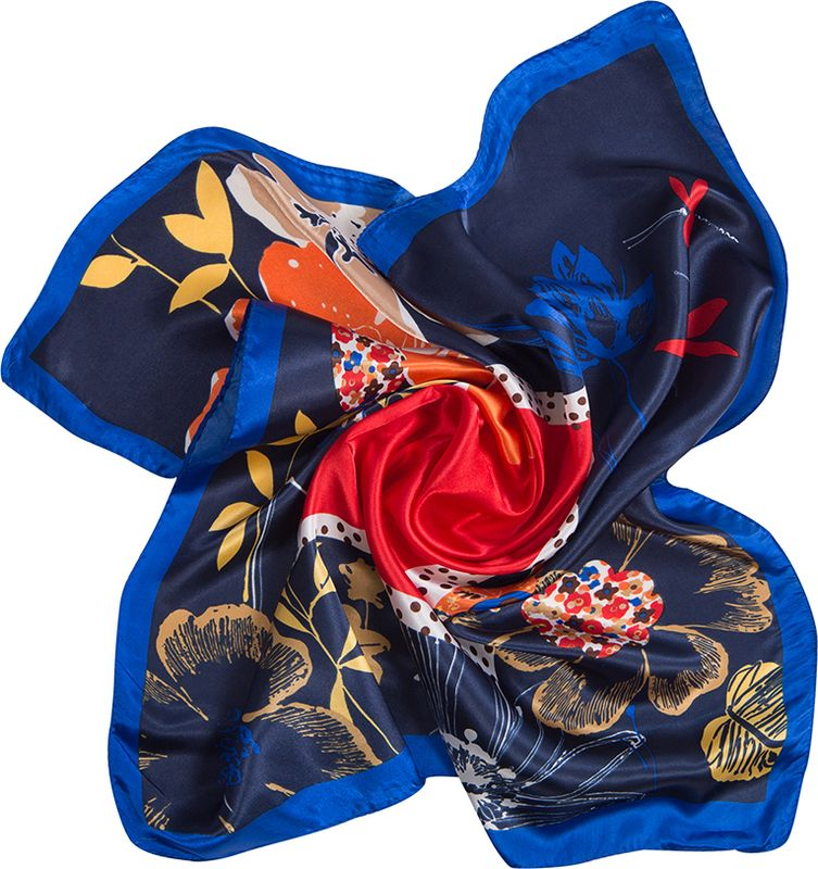 Платок женский Charmante, цвет: синий. NEPA249. Размер 60 см х 60 смNEPA249Эффектный шейный платок со стилизованным живописным принтом. Придаст шик любому гардеробу в качестве шарфика или косынки.