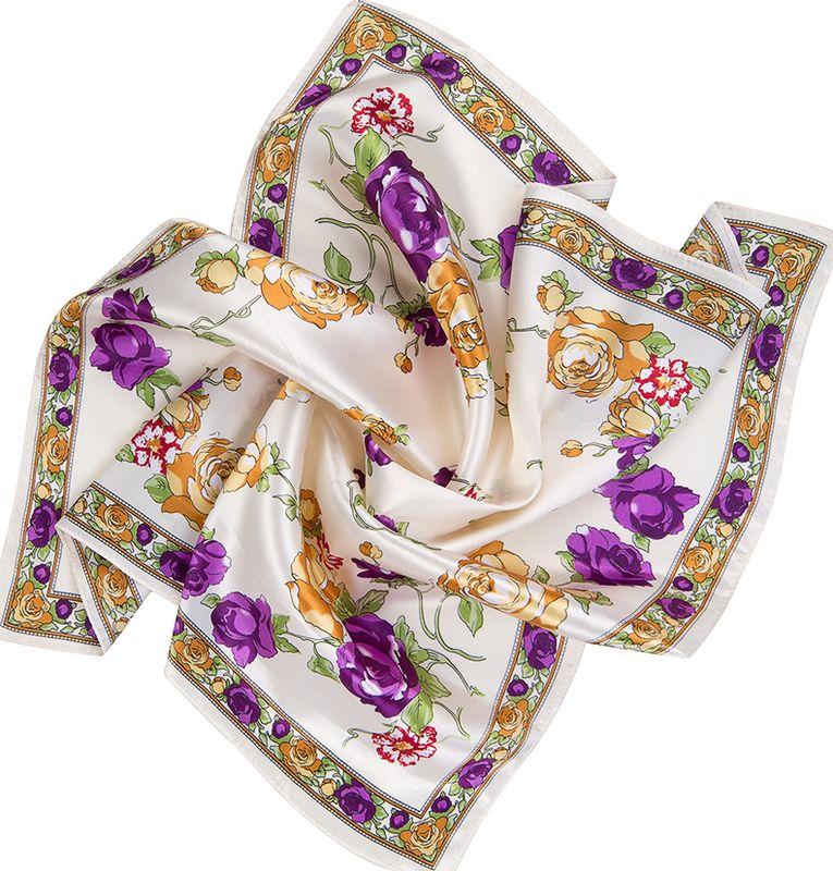 Платок женский Charmante, цвет: фиолетовый. NEPA252. Размер 60 см х 60 смNEPA252Нежный шейный платок с очаровательным цветочным орнаментом. Замечательно украсит любой гардероб в качестве шарфика или косынки. Подчеркивает цвет глаз, освежает лицо и придает ему легкий румянец.