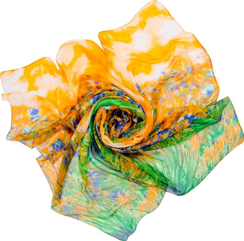 Платок женский Charmante, цвет: зеленый, оранжевый. SCSF397. Размер 190 см х 130 смSCSF397Легкий прозрачный платок прямоугольной формы с абстрактным рисунком. Платок из натурального шелка по краям обработан швами. Благодаря размеру платок отлично драпируется, привнося модное настроение в любой образ!