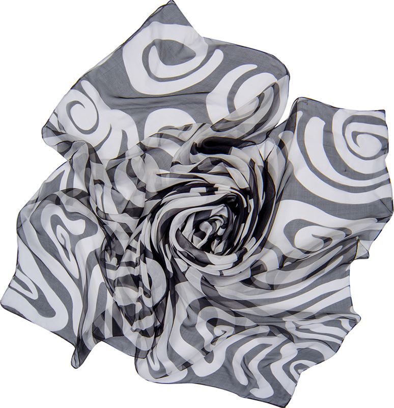 Платок женский Charmante, цвет: черный, белый. SCSF398. Размер 180 см х 110 смSCSF398Легкий прозрачный платок прямоугольной формы с абстрактным рисунком. Платок из натурального шелка по краям обработан швами. Благодаря размеру платок отлично драпируется, привнося модное настроение в любой образ!