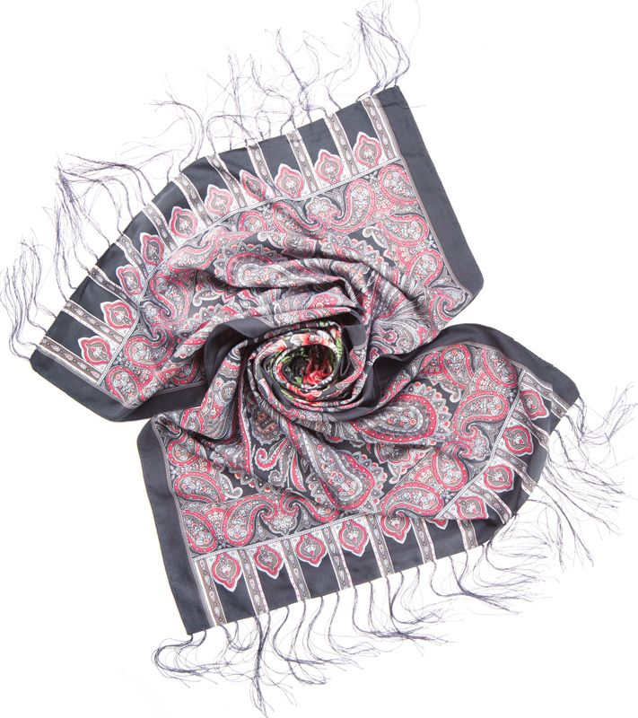 Шарф женский Charmante, цвет: серый. SCVIST351. Размер 160 см х 65 смSCVIST351Необычайно мягкий и приятный на ощупь шарф из высококачественного материала, украшенный цветочным принтом, восточным узором пейсли и орнаментом. Края подшиты и по ширине декорированы шелковыми кисточками.