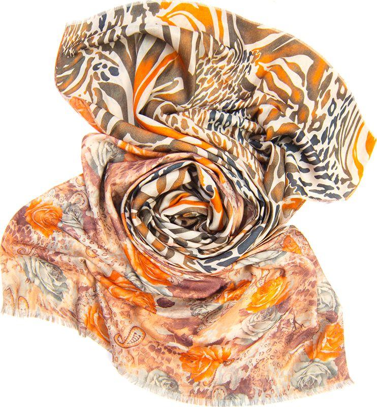Палантин женский Charmante, цвет: оранжевый. SCVIST370. Размер 185 см х 70 смSCVIST370Уютный двусторонний палантин из приятной к телу вискозы. С одной стороны – фантазийный рисунок с розами, с другой – камуфляжный принт, благодаря чему изделие смотрится свежо и необычно. Палантин обработан швами, оформлен естественной бахромой. Стильный и практичный аксессуар к любой верхней одежде в холодное время года!