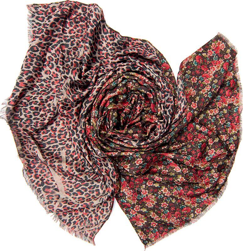 Палантин женский Charmante, цвет: красный, коричневый. SCVIST379. Размер 185 см х 70 смSCVIST379Теплый двусторонний палантин из приятной к телу вискозы. С одной стороны – мелкий цветочный принт, с другой – леопардовый рисунок, благодаря чему аксессуар смотрится свежо и необычно! Палантин обработан швами, оформлен бахромой.
