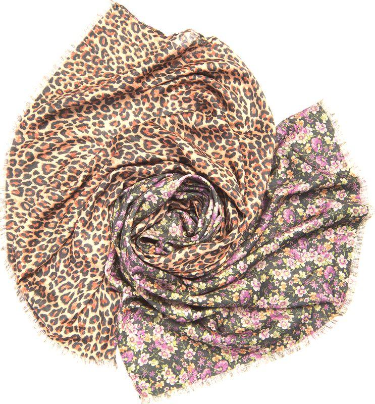 Палантин женский Charmante, цвет: фиолетовый, коричневый. SCVIST379. Размер 185 см х 70 смSCVIST379Теплый двусторонний палантин из приятной к телу вискозы. С одной стороны – мелкий цветочный принт, с другой – леопардовый рисунок, благодаря чему аксессуар смотрится свежо и необычно! Палантин обработан швами, оформлен бахромой.
