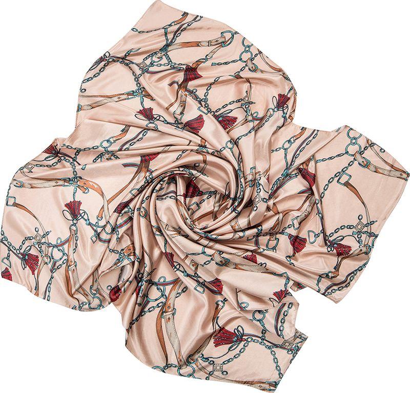 Платок женский Charmante, цвет: светло-персиковый. SHPA264. Размер 110 см х 110 смSHPA264Стильный платок с модным принтом из ремешков и цепочек. Гладкая шелковистая структура приятна к телу, изделие отлично драпируется и сочетается с классической осенней одеждой.