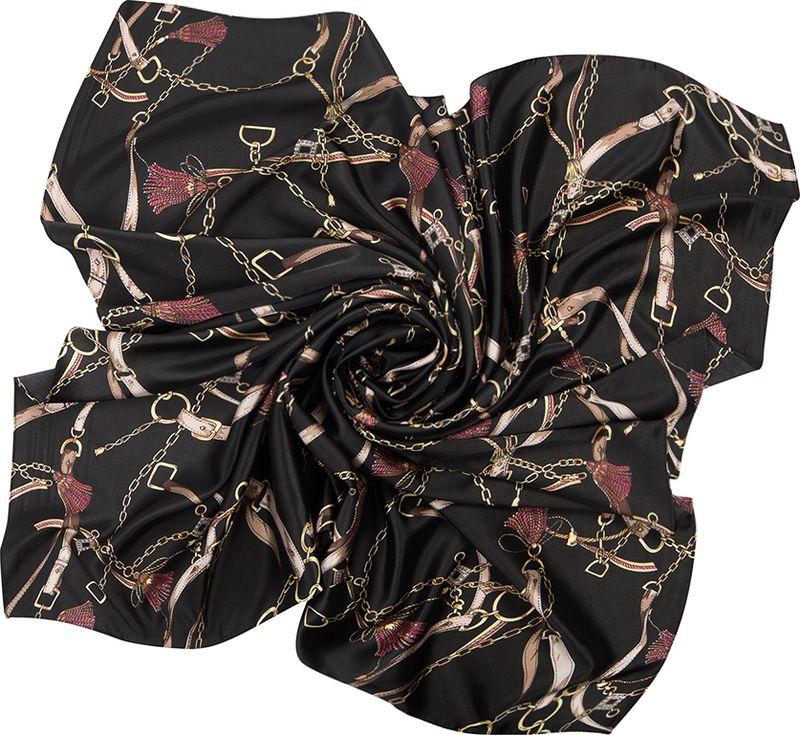 Платок женский Charmante, цвет: черный. SHPA264. Размер 110 см х 110 смSHPA264Стильный платок с модным принтом из ремешков и цепочек. Гладкая шелковистая структура приятна к телу, изделие отлично драпируется и сочетается с классической осенней одеждой.