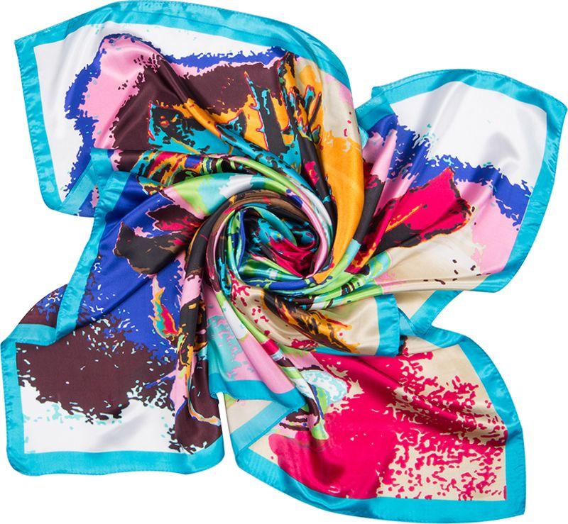 Платок женский Charmante, цвет: голубой. SHPA273. Размер 90 см х 90 смSHPA273Яркий платок классического размера с цветочным принтом. Гладкая шелковистая текстура приятна к телу, изделие отлично драпируется и сочетается с любой одеждой.