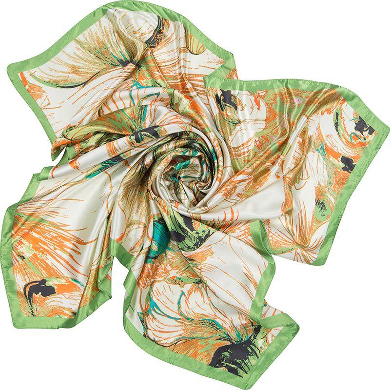 Платок женский Charmante, цвет: зеленый. SHPA275. Размер 90 см х 90 смSHPA275Платок с абстрактным цветочным принтом - верный аксессуар для завершения эффектного образа на каждый день. Приятная шелковистая текстура, красивое сочетание цветов, атласные переливы при драпировке - платок одинаково роскошно смотрится со многими вещами.