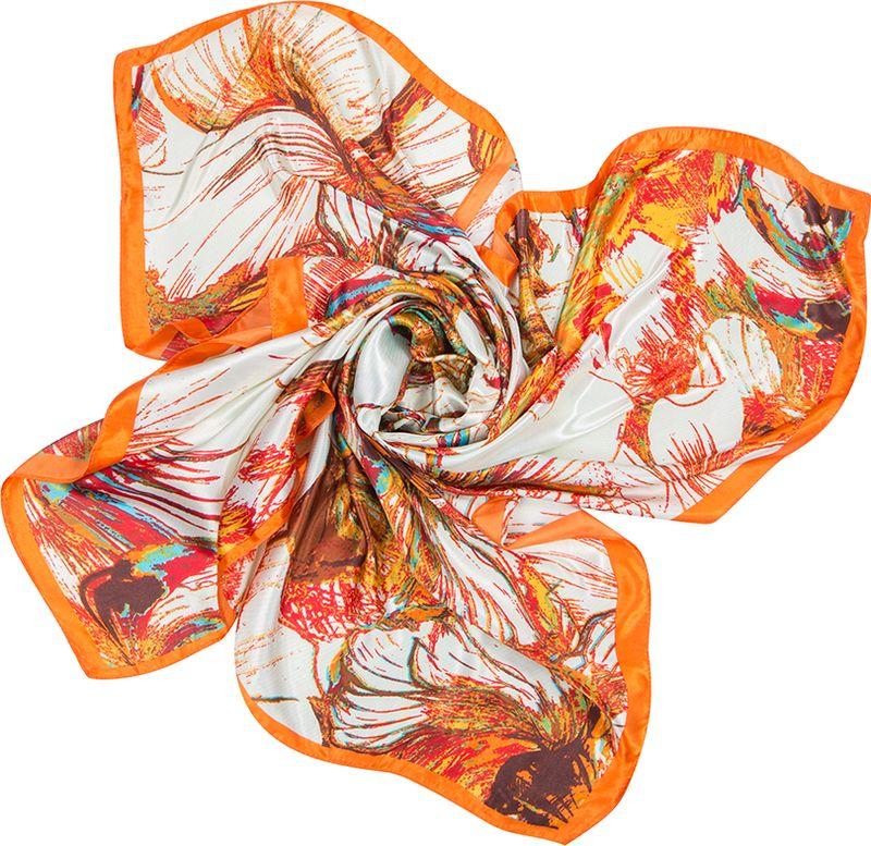 Платок женский Charmante, цвет: оранжевый. SHPA275. Размер 90 см х 90 смSHPA275Платок с абстрактным цветочным принтом - верный аксессуар для завершения эффектного образа на каждый день. Приятная шелковистая текстура, красивое сочетание цветов, атласные переливы при драпировке - платок одинаково роскошно смотрится со многими вещами.