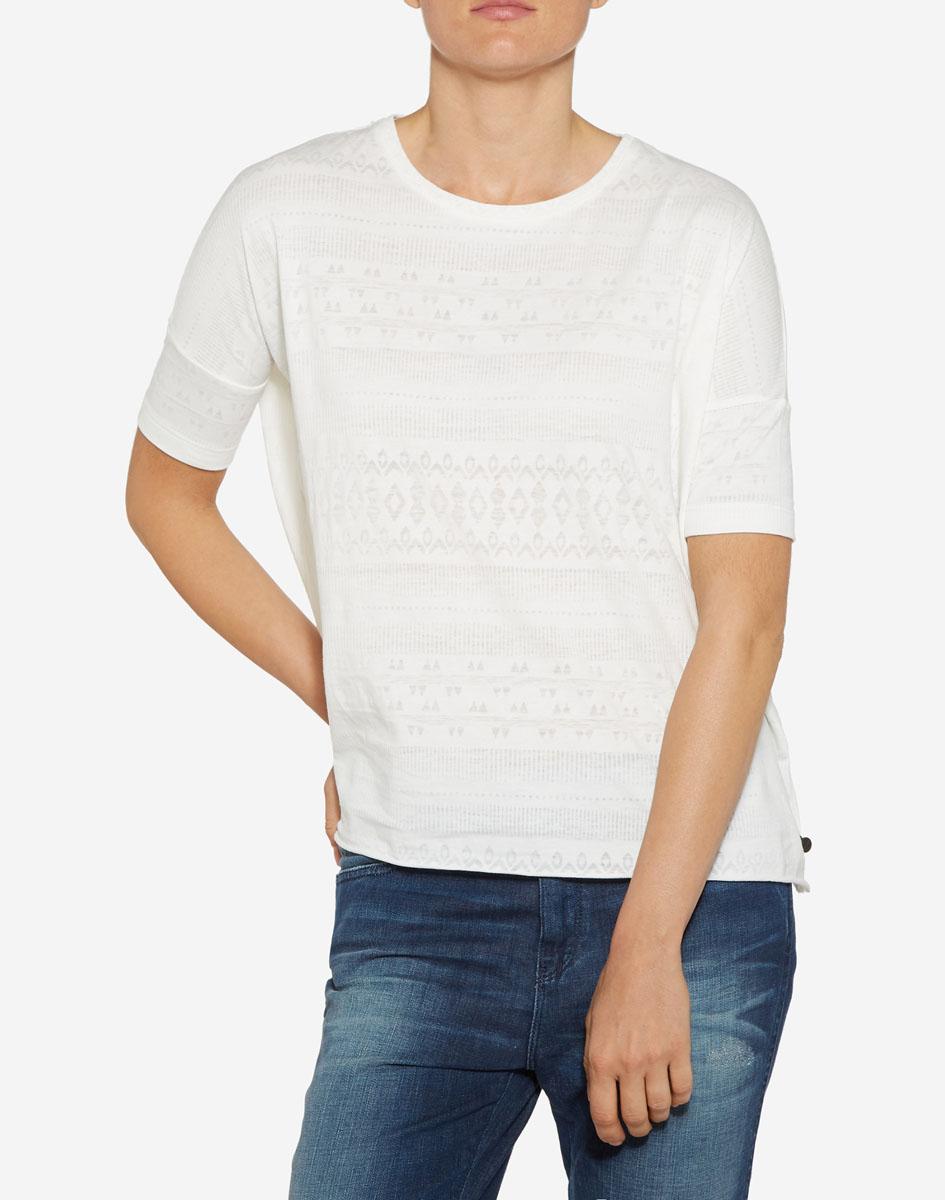 Футболка женская Wrangler, цвет: белый. W7328E3IV. Размер XL (48)W7328E3IVСтильная футболка свободного кроя Wrangler изготовлена из сочетания натурального хлопка и полиэстера. Имеет круглый вырез горловины и рукав-кимоно. Оформлена футболка контрастным принтом.