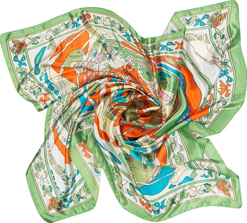 Платок женский Charmante, цвет: зеленый. SHPA276. Размер 90 см х 90 смSHPA276Великолепная и незаменимая деталь гардероба любой женщины – элегантный и изящный шелковистый платок. Модель с фантазийным нарядным принтом - верный аксессуар для завершения эффектного образа на каждый день.