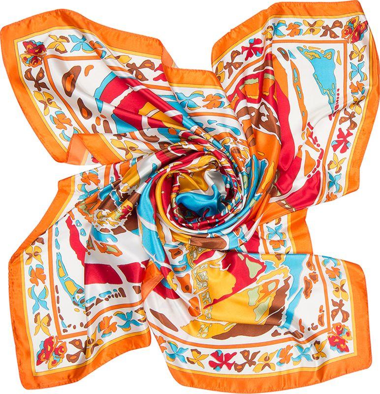 Платок женский Charmante, цвет: оранжевый. SHPA276. Размер 90 см х 90 смSHPA276Великолепная и незаменимая деталь гардероба любой женщины – элегантный и изящный шелковистый платок. Модель с фантазийным нарядным принтом - верный аксессуар для завершения эффектного образа на каждый день.