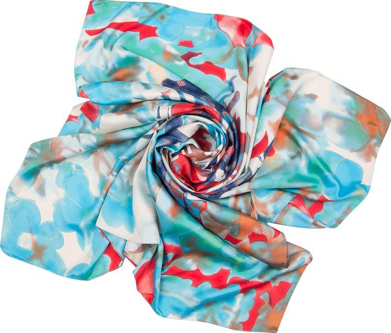 Платок женский Charmante, цвет: голубой. SHPA278. Размер 90 см х 90 смSHPA278Нарядный платок классического размера с рисунком и фольгированием. Классический размер позволяет платку прекрасно драпироваться, создавая при этом красивые переливы цвета за счет атласной структуры полотна.