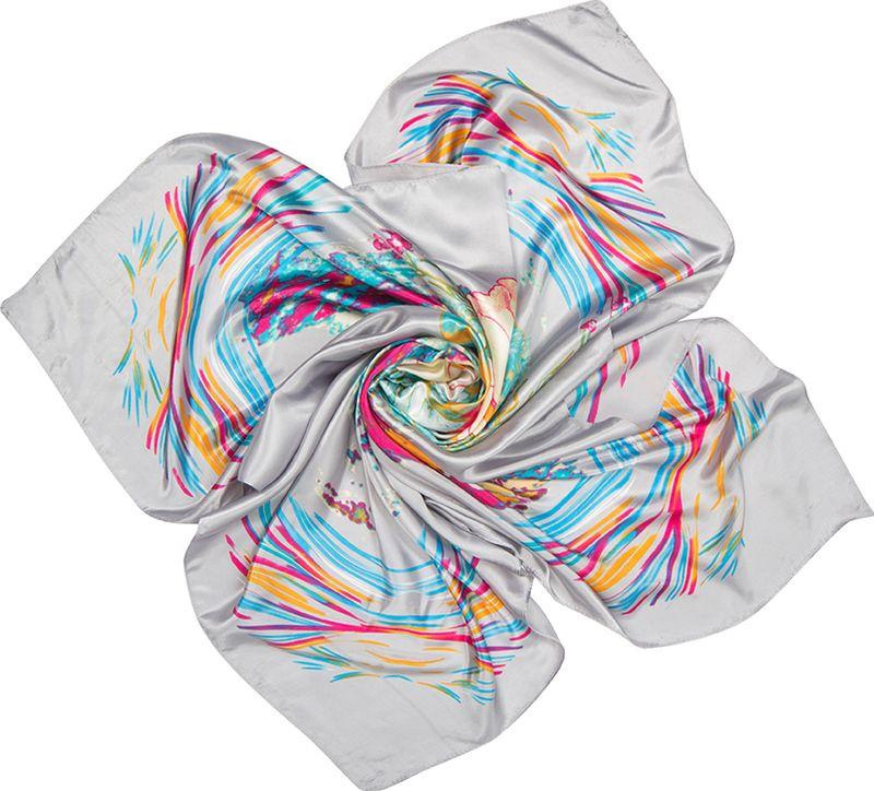 Платок женский Charmante, цвет: серый. SHPA279. Размер 90 см х 90 смSHPA279Платок с цветочным рисунком – универсальный аксессуар для любого времени года. Игра ярких оттенков поднимет настроение и сделает образ более модным и свежим. Края обработаны машинным швом. Ткань не мнется, не теряет яркости и не садится после стирок.