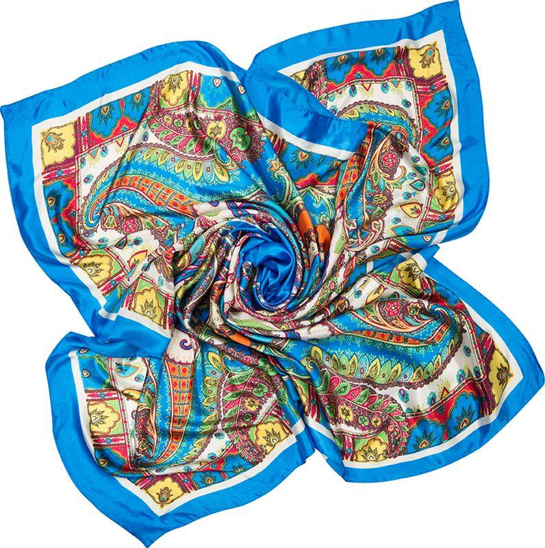 Платок женский Charmante, цвет: голубой. SHPA280. Размер 90 см х 90 смSHPA280Яркий платок с шелковым отливом, восточными узорами и полями – для любого времени года. Украсит однотонный наряд. Края платка обработаны машинным швом. Платок не мнется, не теряет яркости и не садится после стирок.
