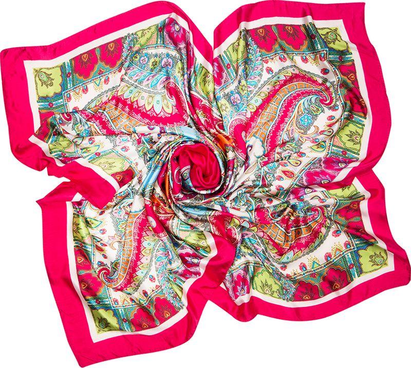 Платок женский Charmante, цвет: красный. SHPA280. Размер 90 см х 90 смSHPA280Яркий платок с шелковым отливом, восточными узорами и полями – для любого времени года. Украсит однотонный наряд. Края платка обработаны машинным швом. Платок не мнется, не теряет яркости и не садится после стирок.