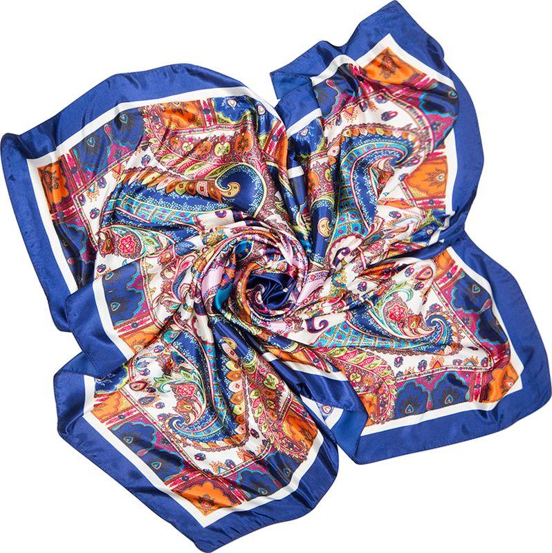 Платок женский Charmante, цвет: темно-синий. SHPA280. Размер 90 см х 90 смSHPA280Яркий платок с шелковым отливом, восточными узорами и полями – для любого времени года. Украсит однотонный наряд. Края платка обработаны машинным швом. Платок не мнется, не теряет яркости и не садится после стирок.