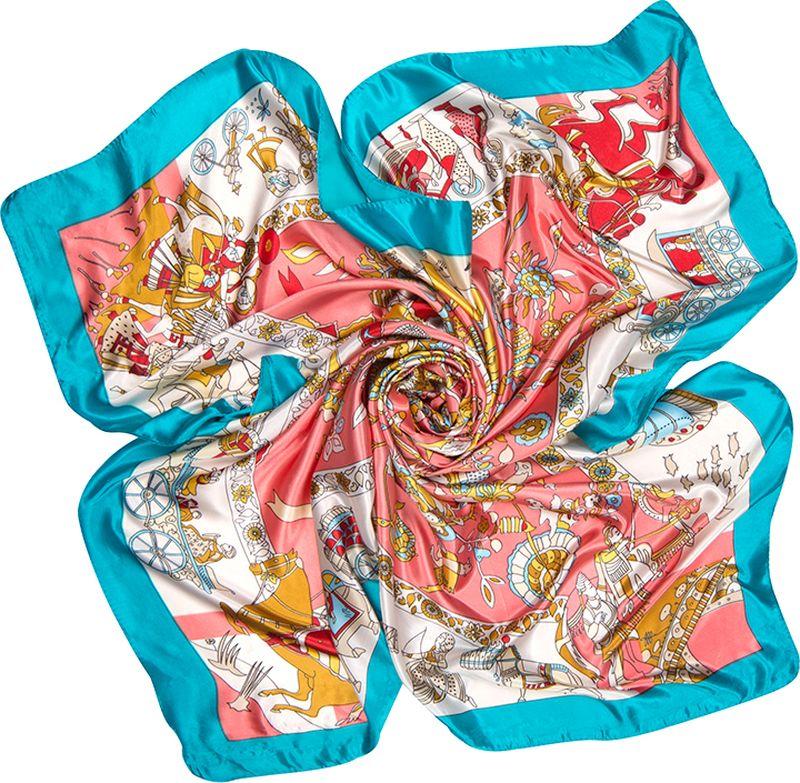 Платок женский Charmante, цвет: розовый. SHPA281. Размер 90 см х 90 смSHPA281Платок с красочным рисунком и сюжетным принтом в индийском стиле – универсальный аксессуар для любого времени года. Прекрасное украшение для самых разных женщин: носить его можно разными способами, он сделает более модным и свежим. Края обработаны машинным швом. Ткань не мнется, не теряет яркости и не садится после стирок.