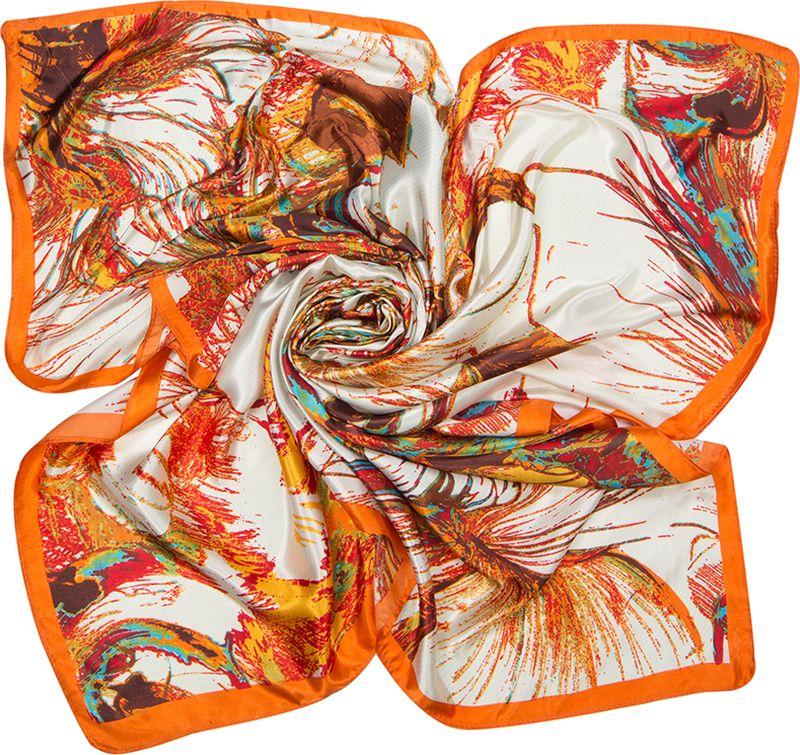 Платок женский Charmante, цвет: оранжевый. SHPA282. Размер 90 см х 90 смSHPA282Платок с абстрактным цветочным принтом - прекрасное украшение для самых разных женщин: благодаря универсальному размеру носить его можно разными способами. Края обработаны машинным швом. Платок не мнется, не теряет яркости и не садится после стирок.