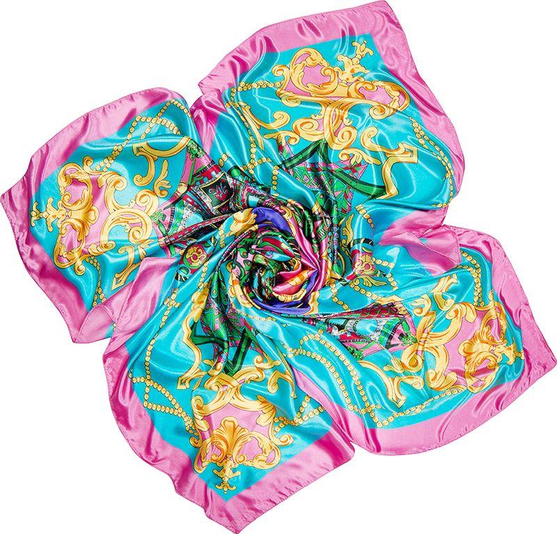 Платок женский Charmante, цвет: бирюзовый. SHPA284. Размер 90 см х 90 смSHPA284Яркий платок с шелковым отливом, узорами и полями – для любого времени года. Украсит однотонный наряд. Края платка обработаны машинным швом. Ткань не мнется, не теряет яркости и не садится после стирок.