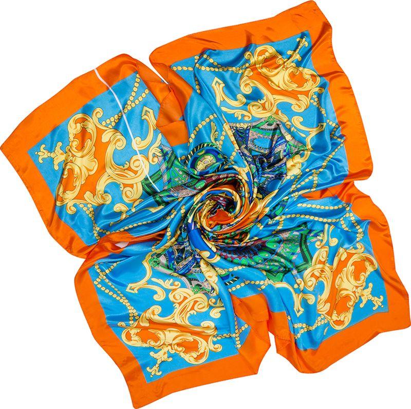 Платок женский Charmante, цвет: голубой. SHPA284. Размер 90 см х 90 смSHPA284Яркий платок с шелковым отливом, узорами и полями – для любого времени года. Украсит однотонный наряд. Края платка обработаны машинным швом. Ткань не мнется, не теряет яркости и не садится после стирок.