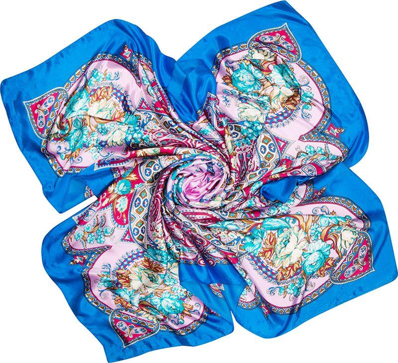 Платок женский Charmante, цвет: розовый. SHPA285. Размер 90 см х 90 смSHPA285Нарядный платок с шелковым отливом и восточными мотивами. Эффектные принты красиво смотрятся при драпировке. Украсит однотонный наряд. Края платка обработаны машинным швом. Платок не мнется, не теряет яркости и не садится после стирок.