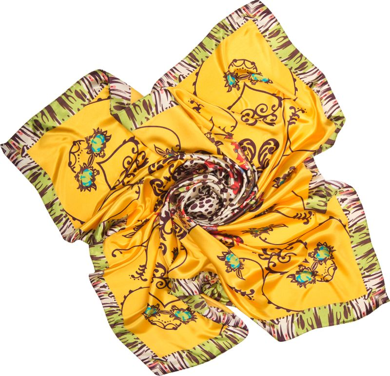 Платок женский Charmante, цвет: желтый. SHPA286. Размер 90 см х 90 смSHPA286Платок с атласным отливом. Благодаря сочным цветам, миксу леопардового принта, цветови узоров, канту платок смотрится крайне необычно и украсит самый скромный наряд! Классический размер позволяет завязывать аксессуар различными способами, создавая красивые переливы цветов и не ломая рисунка. Края обработаны машинным швом. Платок не мнется, не теряет яркости и не садится после стирок.