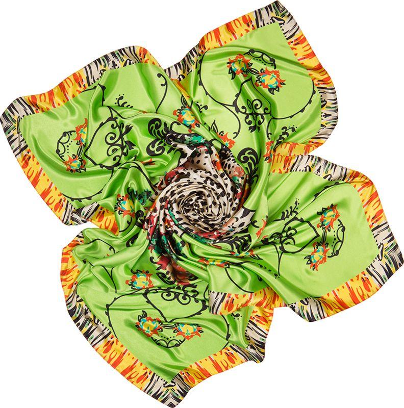 Платок женский Charmante, цвет: зеленый. SHPA286. Размер 90 см х 90 смSHPA286Платок с атласным отливом. Благодаря сочным цветам, миксу леопардового принта, цветови узоров, канту платок смотрится крайне необычно и украсит самый скромный наряд! Классический размер позволяет завязывать аксессуар различными способами, создавая красивые переливы цветов и не ломая рисунка. Края обработаны машинным швом. Платок не мнется, не теряет яркости и не садится после стирок.