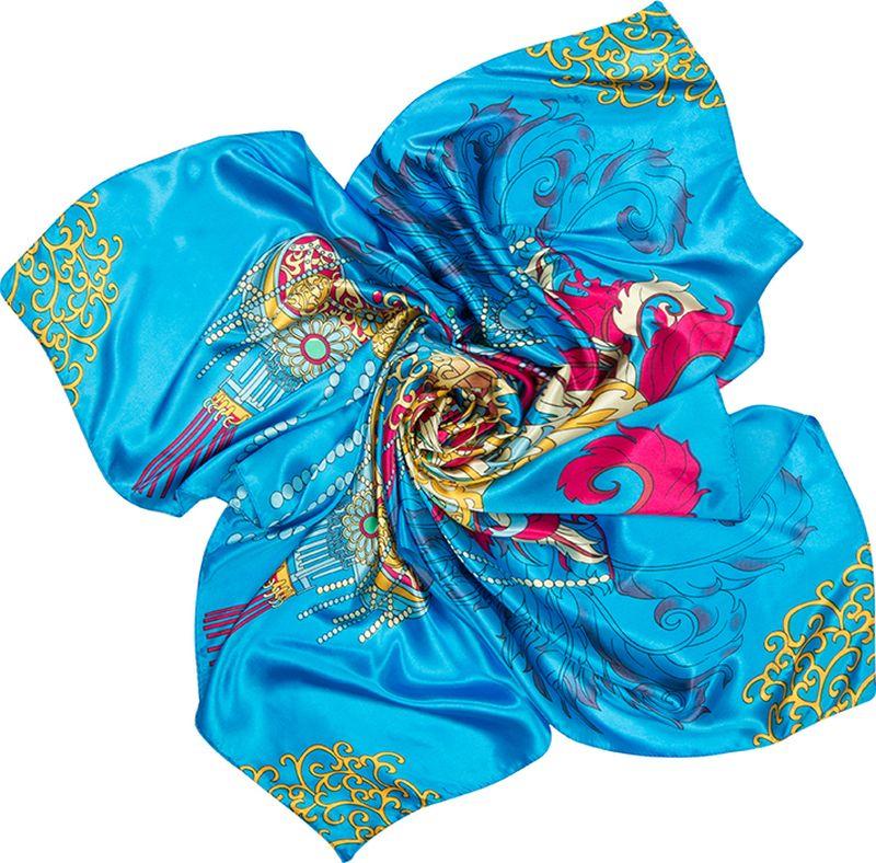 Платок женский Charmante, цвет: голубой. SHPA288. Размер 90 см х 90 смSHPA288Нежный на ощупь платок с атласным отливом и ярким абстрактным узором по всей поверхности украсит самый скромный наряд! Классический размер позволяет завязывать и драпировать аксессуар различными способами, создавая красивые переливы цветов и не ломая рисунка. Края обработаны машинным швом. Платок не мнется, не теряет яркости и не садится после стирок.