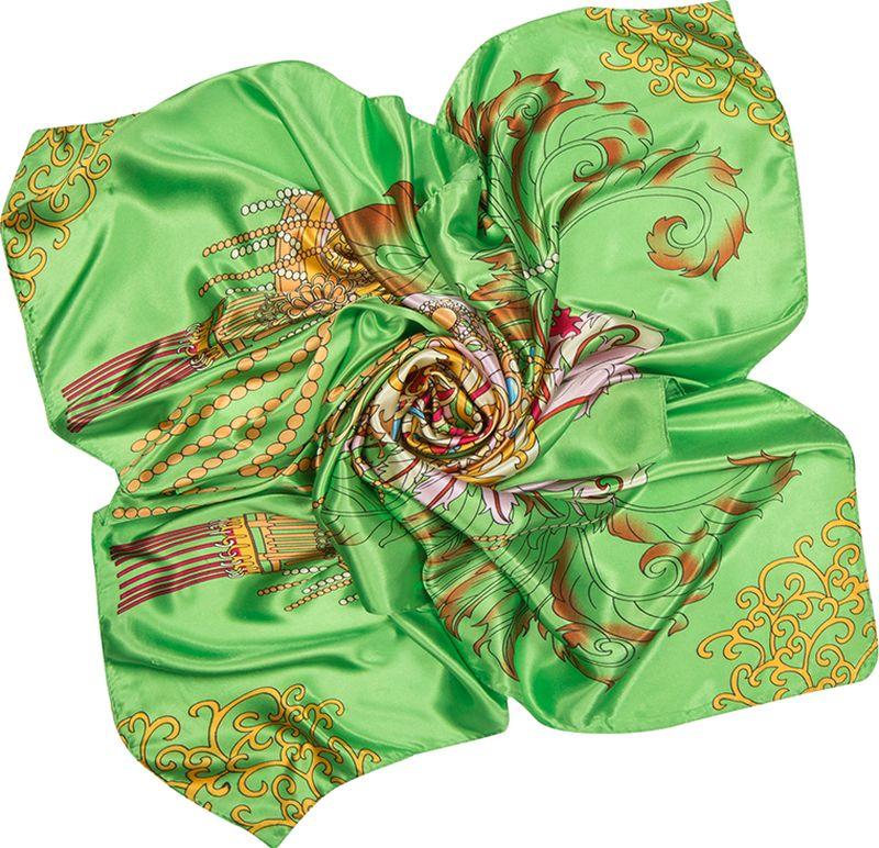 Платок женский Charmante, цвет: зеленый. SHPA288. Размер 90 см х 90 смSHPA288Нежный на ощупь платок с атласным отливом и ярким абстрактным узором по всей поверхности украсит самый скромный наряд! Классический размер позволяет завязывать и драпировать аксессуар различными способами, создавая красивые переливы цветов и не ломая рисунка. Края обработаны машинным швом. Платок не мнется, не теряет яркости и не садится после стирок.